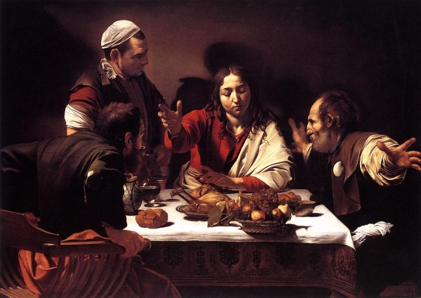 Michelangelo Merisi da Caravaggio (571-1610). Wieczerza w Emaus. 1601