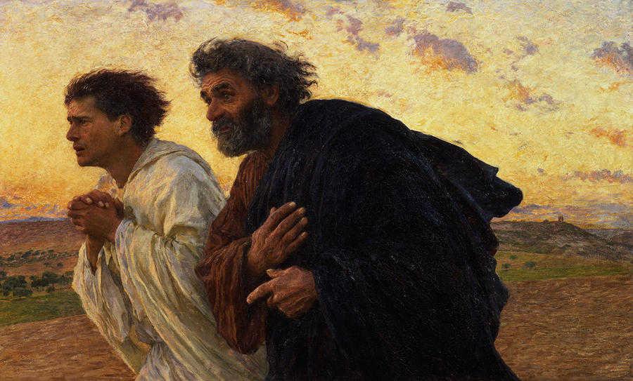 Eugene Burnand (1850-1921), Apostołowie Piotr i Jan biegnący do grobu Chrystusa w poranek Zmartwychwstania, 1898