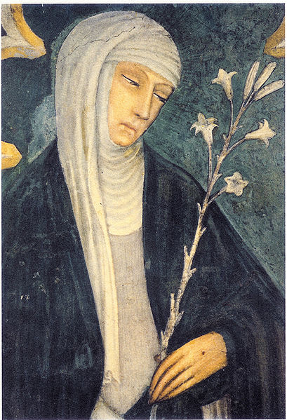 Katarzyna ze Sieny. Fresk z kościoła św. Dominika w Sienie.  ok. 1400