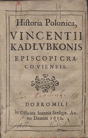 Piewsza strona wydania Historii Polski z 1612 r.